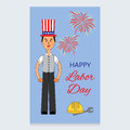 Labor Day Vector Design. A man in a suit and an American hat on his head. Working helmet and screwdriver are are at the