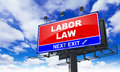 Labor Law on Red Billboard. Royalty Free Stock Photo