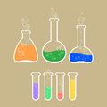 Laboratory apparatus with colorful solution vector illustration of Royalty Free Stock Photography