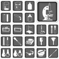 Laboratory buttons set collection of icons Royalty Free Stock Image