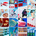 Laboratory collage with petri dish pipette test tubes stem cells reaction tube Royalty Free Stock Photo