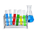 Laboratory equipment with liquid samples test tube rack and beaker Stock Photo