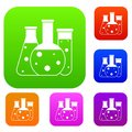 Laboratory flasks set collection Royalty Free Stock Photo
