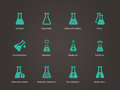 Laboratory glass and flask icons set.
