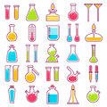 Laboratory glass vials and chemical tests equipment vector icons