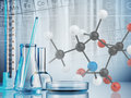 Laboratory glassware on color background Stock Image