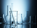 Laboratory glassware on color background Stock Images