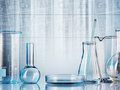 Laboratory glassware on color background Royalty Free Stock Images