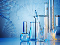 Laboratory glassware on color background Stock Image