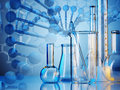 Laboratory glassware on color background Royalty Free Stock Image