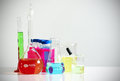 Laboratory glassware with colorful chemicals Stock Image