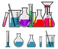 Laboratory glassware with colorful liquids Stock Image