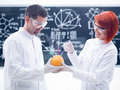 Laboratory grapefruit experiment close up of two people in a chemistry lab holding in hands a with a syringe in it and a worktable Stock Image