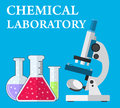 Laboratory microscope and test tubes with liquid Royalty Free Stock Photo