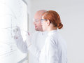 Laboratory samples close up of a teacher in a chemistry lab holding in hand for his student in front of a whiteboard Stock Images