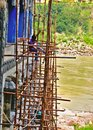 Laborer and construction worker in india in Rishikesh, India, on 8 July 2019