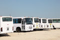Labors transport in doha qatar buses for workers to construction sites middle east Royalty Free Stock Photography