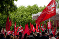 Labour day demonstration in Vitoria-Gasteiz Royalty Free Stock Photos