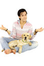 Labrador and man yoga position Stock Photo