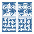 Labyrinth a collection of four simple square labyrinths Royalty Free Stock Photo