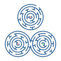 Labyrinth a collection of three simple round labyrinths Royalty Free Stock Image