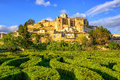 Labyrinth garden and castle Grignan, Drome, France Royalty Free Stock Photo