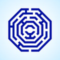 Labyrinth illustration of blue in octangle shape on light blue background Stock Photography