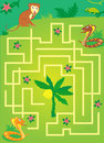 Labyrinth with jungle animals. help a monkey to keep banana
