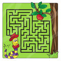 Labyrinth, maze for kids. Entry and exit - Help the worm to crawl to apple