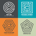 Labyrinth, maze shape logo design vector set Royalty Free Stock Photo
