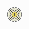 Labyrinth with money icon Royalty Free Stock Photo