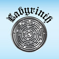 Labyrinth puzzle in silver and gray colors with text Stock Photo