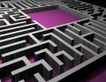 Labyrinth puzzle solution Stock Photo