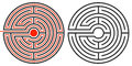 Labyrinth puzzle and the solution unsolved second showing route completed in red Stock Photography