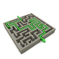 The labyrinth is a serious consequence of decisions to come out of the dark and become successful Stock Photo