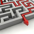 The labyrinth is a serious consequence of decisions to come out of the dark and become successful Stock Image