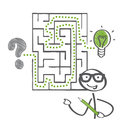 Labyrinth and solution the way to success stick figure with green pencil Royalty Free Stock Photography
