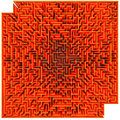 Labyrinth top view of a orange maze isolated on white background Royalty Free Stock Images