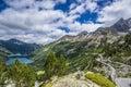Lac d orédon and pic de bugatet from cap long at pyrénées national par Stock Image
