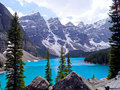 Lac moraine, Banff Image stock