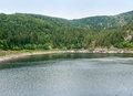 Lac noirc lake named noir in the vosges mountains near orbey in alsace france Royalty Free Stock Photo