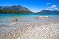 Lac walchensee lavender dans les alpes bavarois Photo stock
