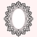 Lace black oval frame Royalty Free Stock Images