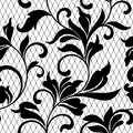 Lace black seamless pattern with flowers on white backgroundLace floral background for your design wallpapers, wrapping, pattern
