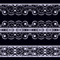 Lace on black a set of three white ribbons a background vector illustration Stock Photos