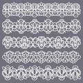 Lace borders. Seamless vintage cotton lace eyelets, horizontal stripe handmade. Embroidered decorative ornate pattern Royalty Free Stock Photo