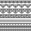 Lace borders set of black isolated on white Stock Photography
