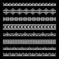 Lace borders set of white ornamental dividers lacy ribbons on black Stock Photography