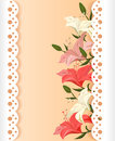 Lace card with lilies vector illustration Royalty Free Stock Photo