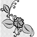 Lace corner black and white background with space for text can be used to design wedding invitations and greeting cards vector Stock Images